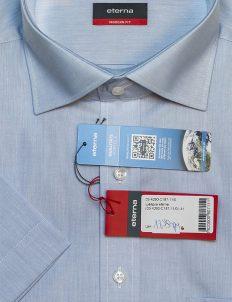 Рубашка мужская с коротким рукавом голубая 100% хлопок