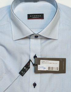 Рубашка в клетку с коротким рукавом голубая 100% хлопок