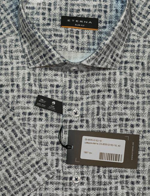 Серая рубашка с рисунком Slim Fit 100% хлопок