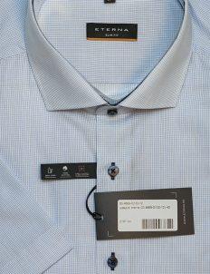 Серая рубашка шведка в клетку приталенная 100% хлопок