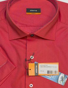 Красная мужская рубашка с коротким рукавом Slim Fit 100% хлопок