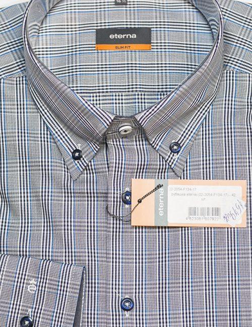Мужская рубашка в клетку серая Slim Fit 100% хлопок