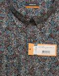 Рубашка черная с рисунком приталенная 100% хлопок