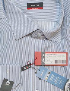Мужская голубая рубашка с длинным рукавом в полоску 100% хлопок