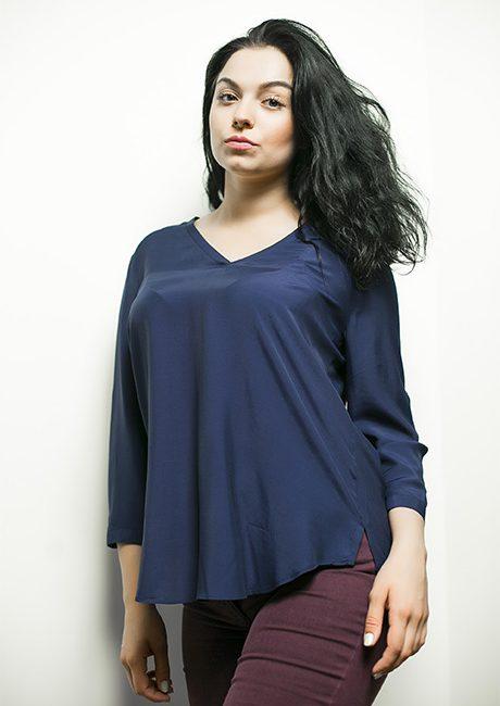Синяя женская блузка с рукавом 3/4 100% вискоза