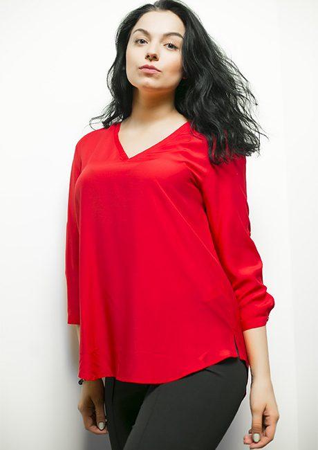 Красная женская блузка с рукавом 3/4 100% вискоза