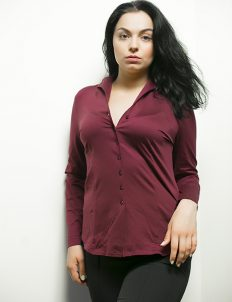 Женская блуза бордо 95% хлопок 5% эластан
