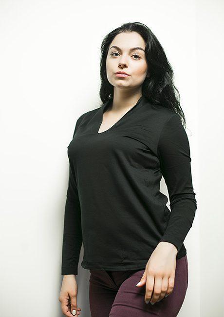Черная женская блуза 95% хлопок 5% эластан