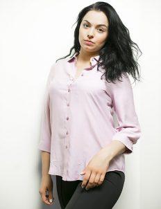 Женская розовая блуза на пуговицах из вискозы 100% вискоза