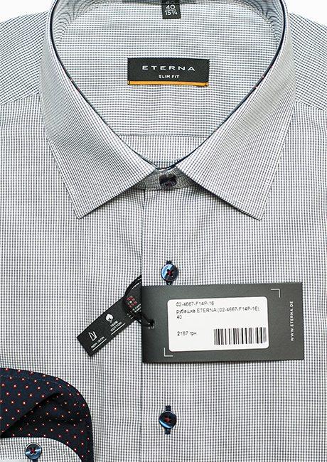 Белая в черную клетку рубашка мужская 100% хлопок