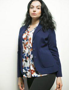 Синий женский пиджак 63% вискоза 33% полиамид