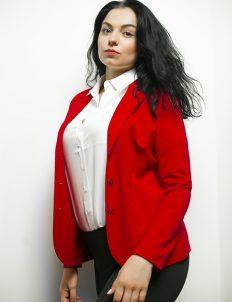 Красный женский пиджак 63% вискоза 33% полиамид