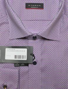 Рубашка Modern Fit фиолетовая в клетку 100% хлопок