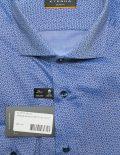 Slim Fit голубая рубашка с принтом длинный рукав 100% хлопок