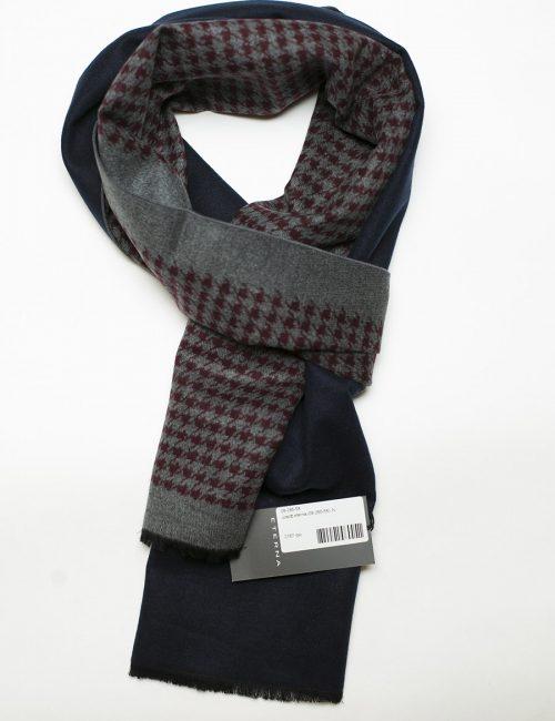 Синий шарф с бордобым и серым принтом 100% шелк