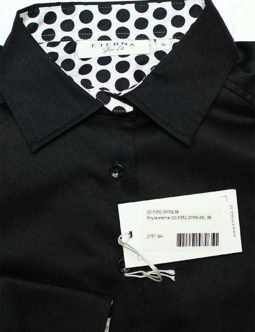 Черная женская блузка с длинным рукавом 97% хлопок 3% эластан