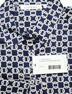Синяя блуза с принтом с длинным рукавом на пуговицах 100% хлопок