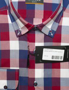 Рубашка мужская в клетку цветная с длинным рукавом 100% хлопок