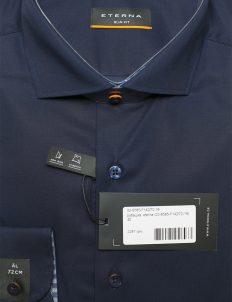 Синяя однотонная рубашка мужская Стретч