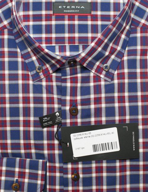Синяя рубашка в клетку класическая 100% хлопок