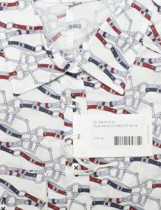 Белая блуза с рисунком ремешки 97% хлопок 3% эластан